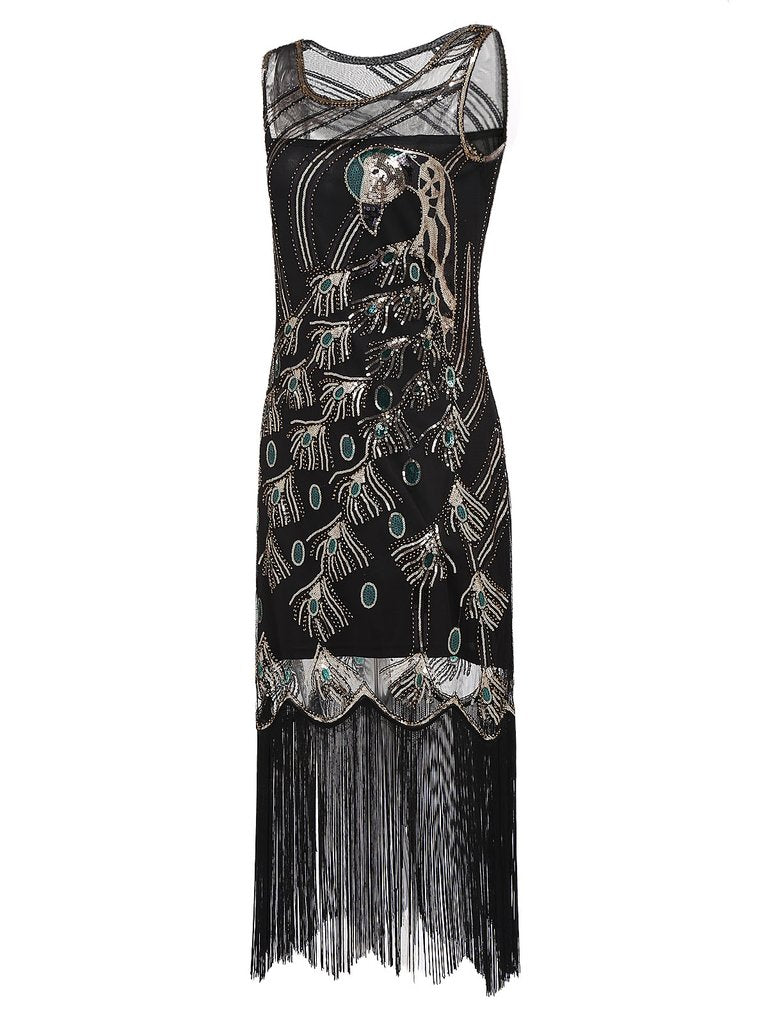 Black 1920s Peacock Flapper Gatsby Dress - g-boxes