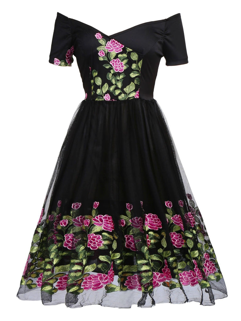 Black 1950s Peony Embroidery Dress - g-boxes