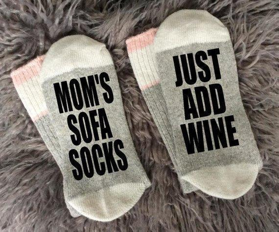 Mom's Sofa Socks-Just Add Wine - g-boxes