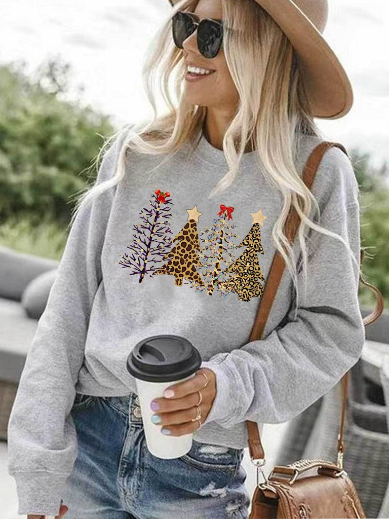 Leopard Printed Christmas Trees Sweatshirt - g-boxes