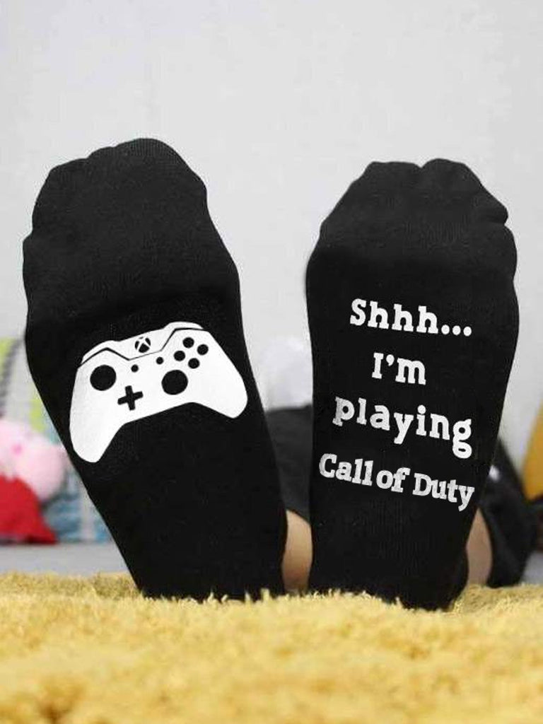 Shhh I'm Playing Call of Duty Socks - g-boxes
