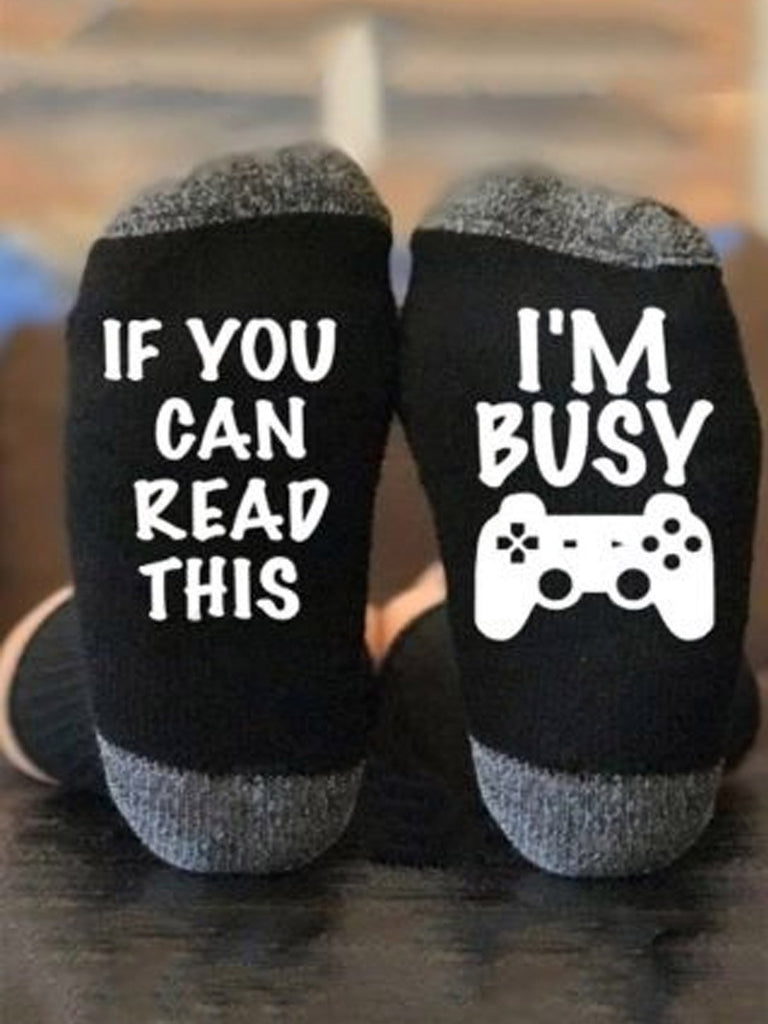 If You Can Read This I'm Busy Socks - g-boxes