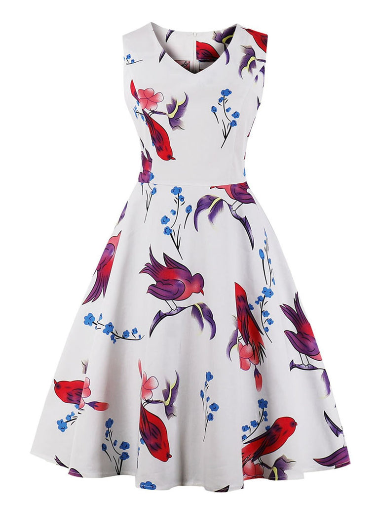 1950s Floral Print Sleeveless Swing Dress - g-boxes