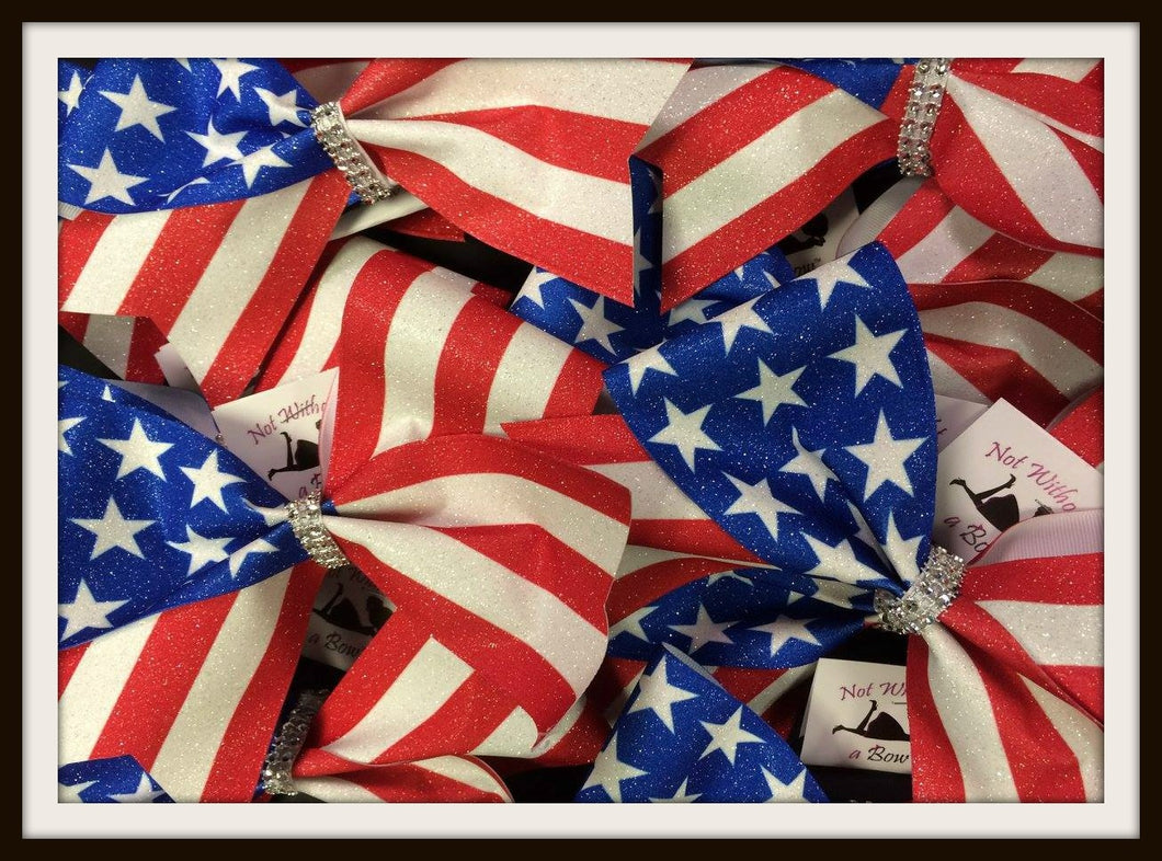 Patriotic USA Stars & Stripes American Flag Glitter Cheer Bow