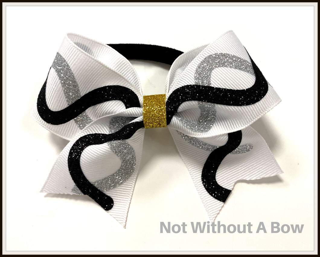 Mini Swoosh Gliiter Bow - Wear Individually Or As Pony Tails - Sold Individually