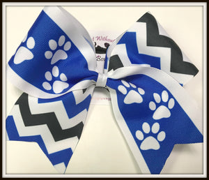 Paw Print Chevron Sublimation Softball Bow Cheer Bow | Customize Colors | NWAB Exclusive