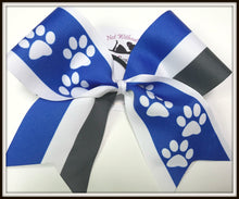 Load image into Gallery viewer, Paw Print Stripe Sublimation Softball Bow Cheer Bow | Customize Colors | NWAB Exclusive