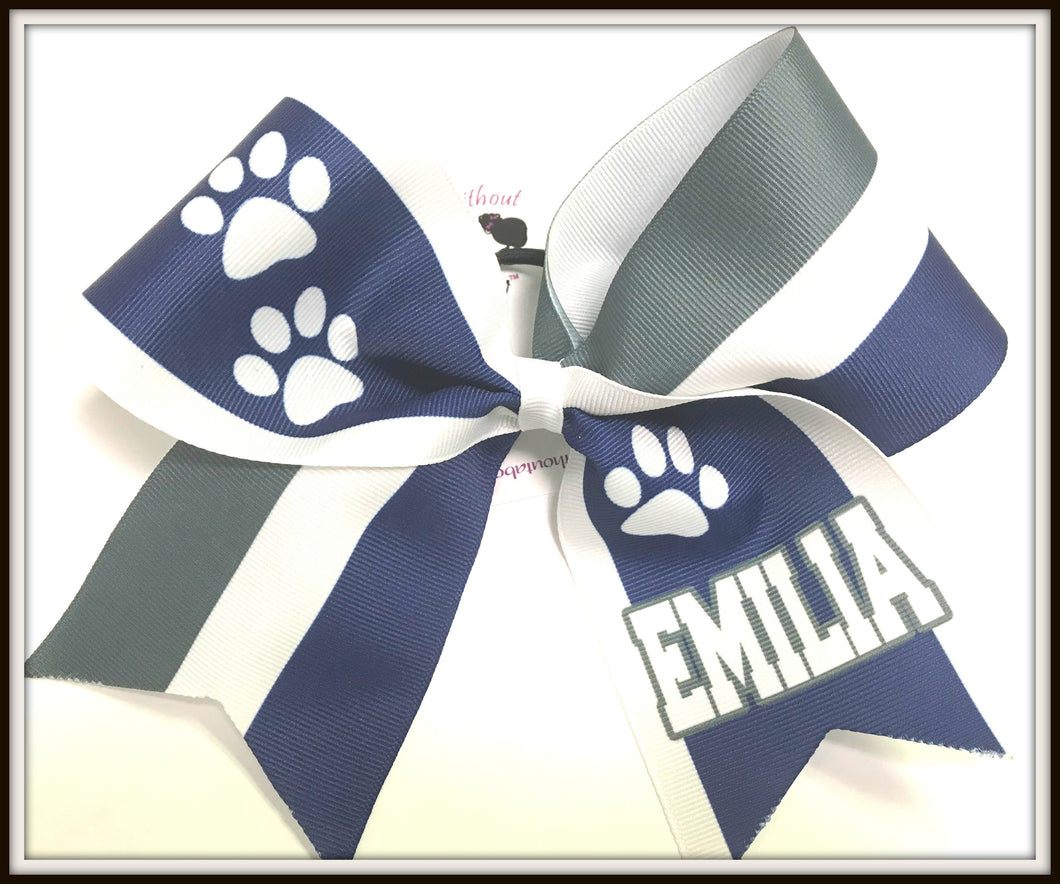 Paw Print Stripe Sublimation Cheer Bow | Customize Colors | Personalize