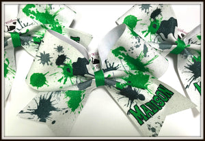 Paint Splatter Glitter Sublimation Cheer Bow | Customize Colors | NWAB Exclusive