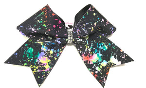 Paint Splatter Cheer Bow | Black Background