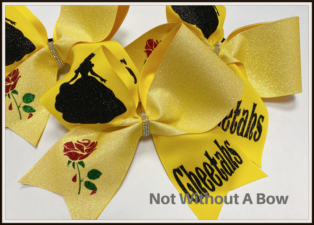 Belle With Her Rose Glitter Cheer Bow | NWAB Exclusive