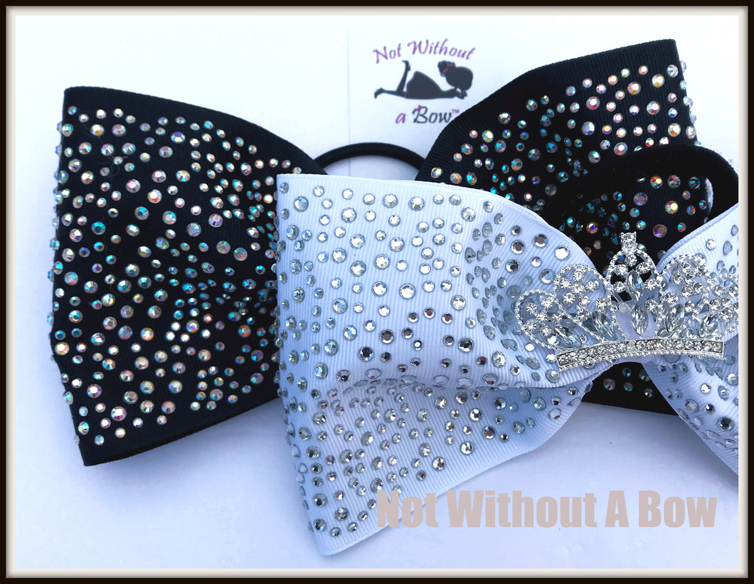 Crown Tiara Tailless Rhinestone Cheer Bow - 4