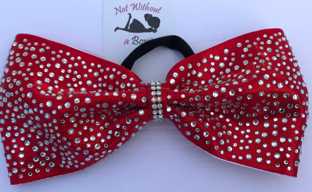 Glitzy Tailless Rhinestone Cheer Bow - 4