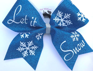 Let It Snow Snowflake Glitter Cheer Bow | NWAB Exclusive