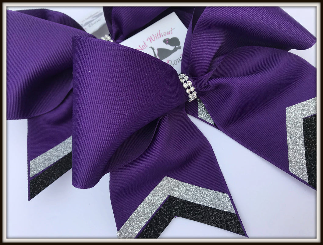 Chevron Glitter Tail Cheer Bow