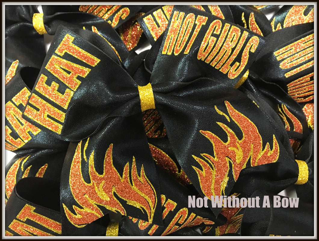 Flames Fire Glitter Personalized Cheer Bow | NWAB Exclusive