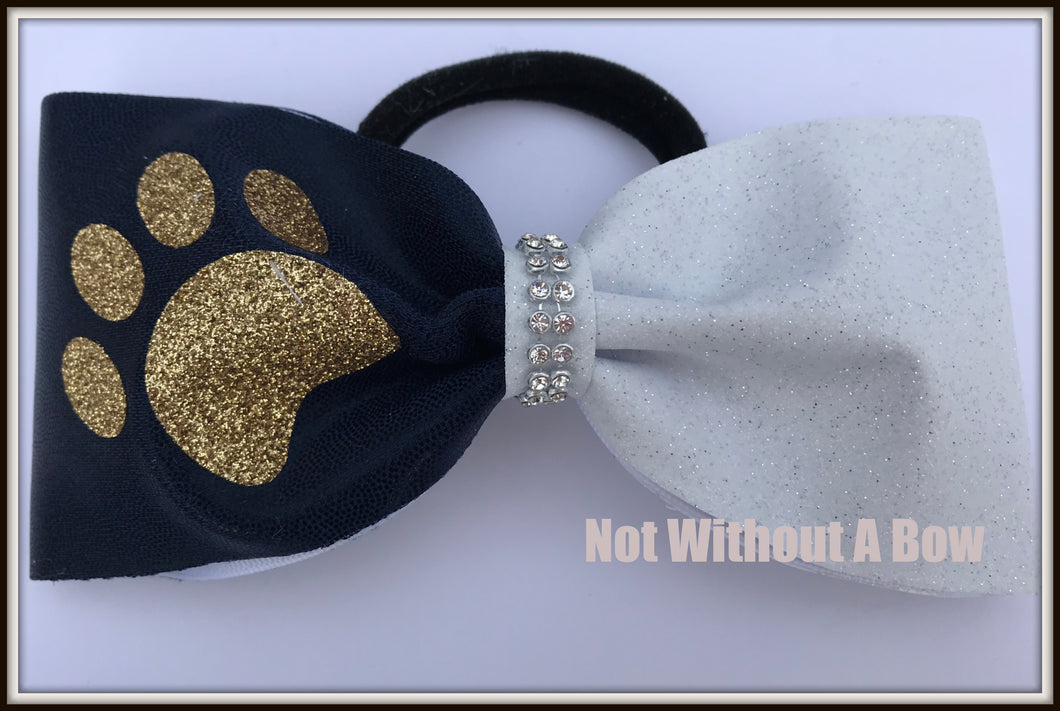 Paw Print Tailless Gliter Cheer Bow - 3