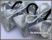 "Load image into Gallery viewer, Tailless Glitzy Rhinestone Cheer Bow - 3"" Ribobn Width - Clear or AB Crystal"