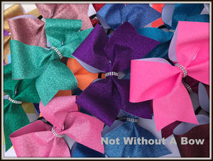 Solid Glitter Cheer Bow
