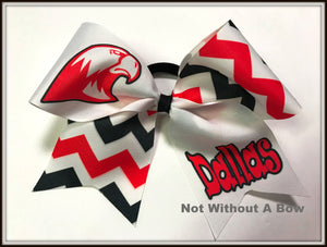 RedHawk Falcon Chevron Sublimation Softball Bow Cheer Bow | Customize Colors | Personalize