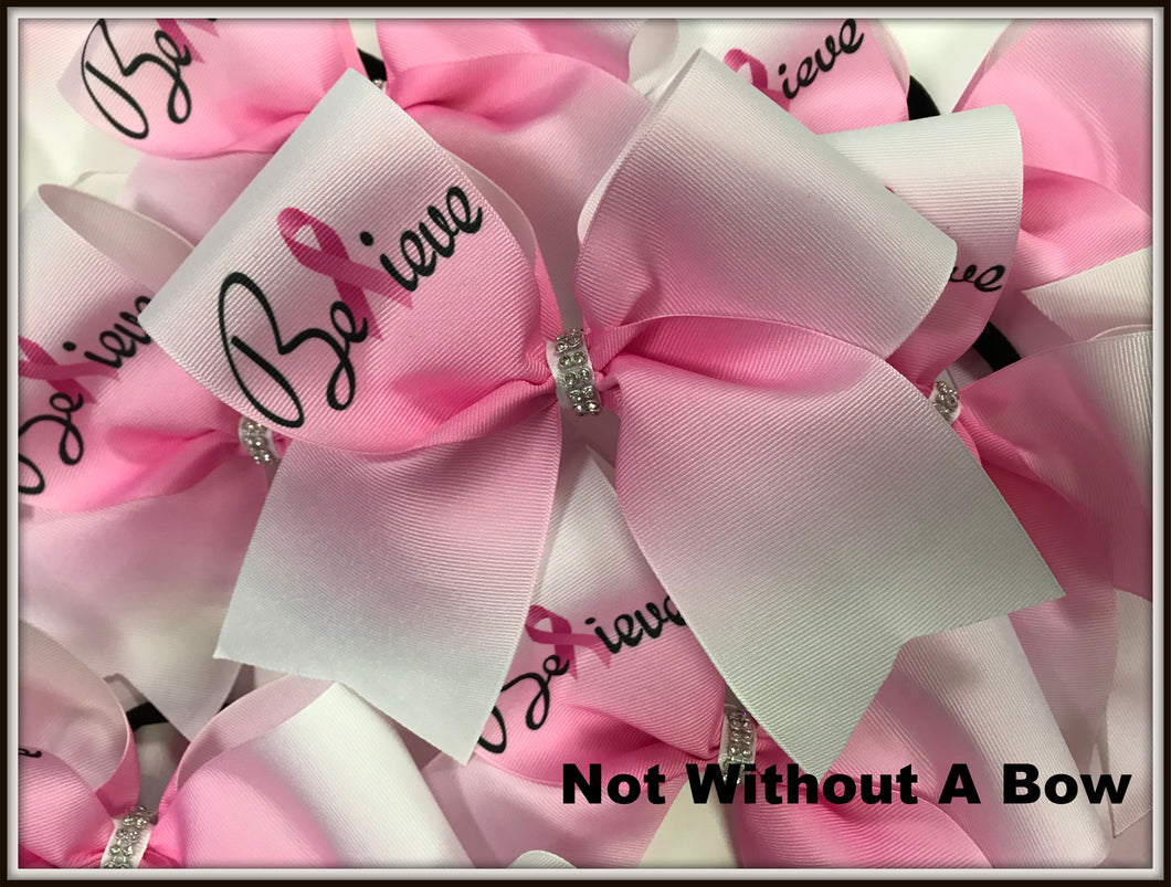 Believe Ombre Pink Cancer Ribbon Awareness Sublimation Cheer Bow