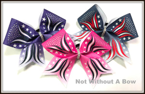 Patriotic Stars Ombre Rhinestone Glitter Sublimation Cheer Bow | Customize Colors