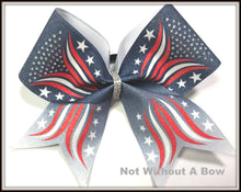 Load image into Gallery viewer, Patriotic Stars Ombre Rhinestone Glitter Sublimation Cheer Bow | Customize Colors