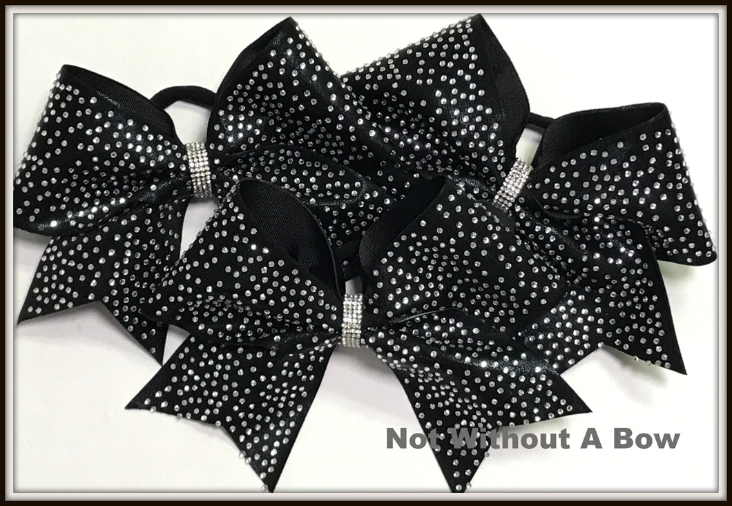 Glitzy Rhinestone Cheer Bow - Clear or AB Crystal