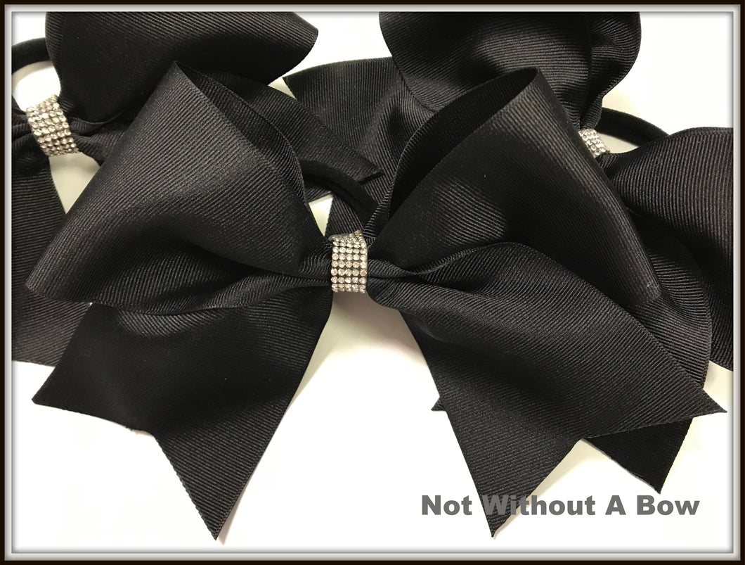 Solid Cheer Bow | Camp | Practice | Everyday Cheer Bow  - With Rhinestone BLING