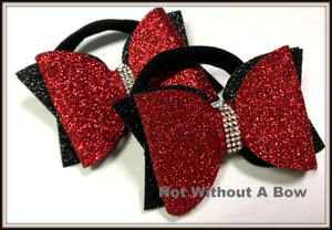 Pigtail Size - Mini Dolly Bow - Glitter Double Layer Cheer Bow - Sold Individually