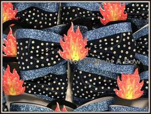 3D Center Flames Fire Glitter Tailless Cheer Bow | NWAB Exclusive