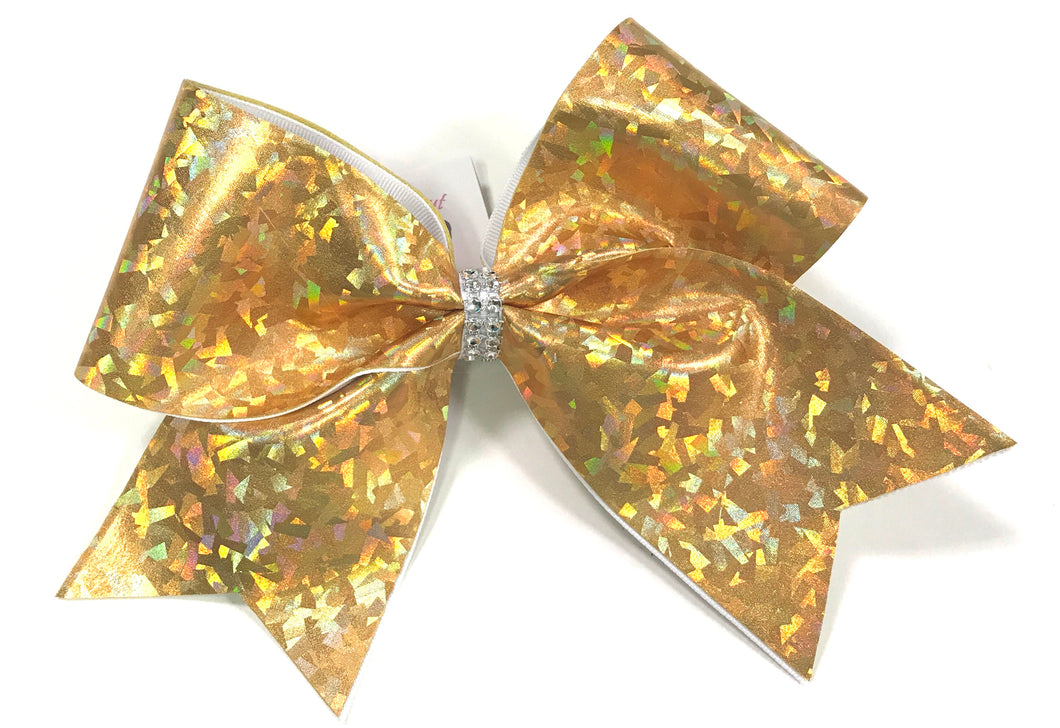 Gold Shattered Glass Cheer Bow