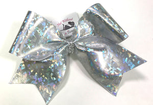 Silver Shattered Glass Cheer Bow