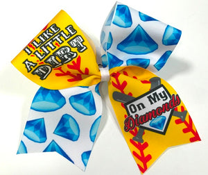 I Like A Little Dirt On My Diamonds Softball Bow -  Sublimation Bow