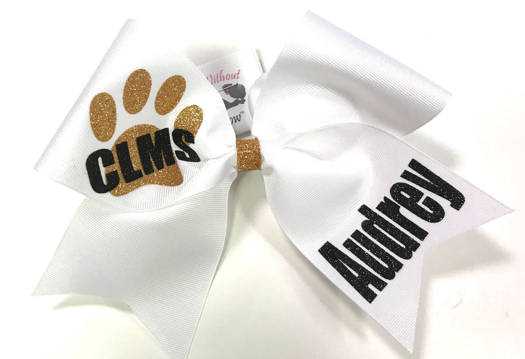 Paw Print Personalized & Team Cheer Bow