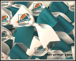 Your Logo Cheer Bow |  Tick Tock Full Sublimation  | Volume Pricing Available