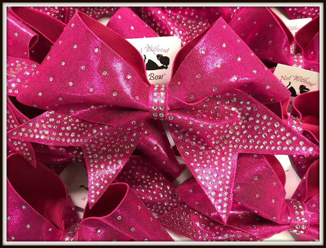 Deep V Rhinestone Cheer Bow - Clear or AB Crystal