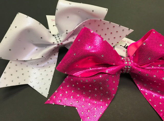 Scattered To Intense Rhinestone Cheer Bow - Clear or AB Crystal