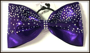 "Tailless Waterfall Rhinestone Cheer Bow - 4"" Ribobn Width - Clear or AB Crystal"