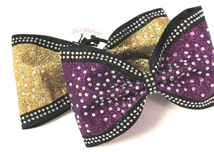 "Glitzy Tailless Glitter Rhinestone Cheer Bow - 4"" Ribbon Width - Clear or AB Crystal"