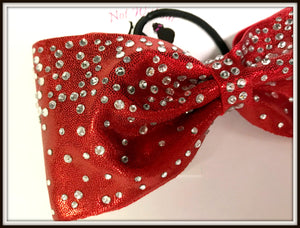 "Tailless Waterfall Rhinestone Cheer Bow - 3"" Ribobn Width - Clear or AB Crystal"