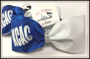 "Personalized Name Tailless Gliter Cheer Bow - 3"" Ribobn Width"