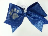 Glitter Paw Print Cheer Bow