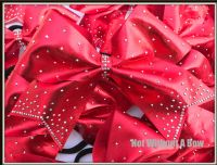 Rhinestone Gradient Tail Cheer Bow - Clear or AB Crystal