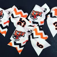 Tiger Chevron Sublimation Softball Bow Cheer Bow |  Personalize | NWAB Exclusive