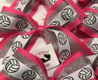 Triple Layer Mid Size Volleyball Print Bow