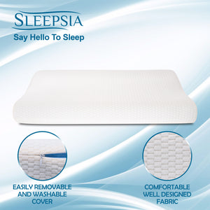 "Sleepsia Premium Gel Infused Medium Contour Memory Foam Pillow for Cervical,Neck Pain and Orthopedic Problems - 23""x 12""x 4"", Off White Grid Fabric"