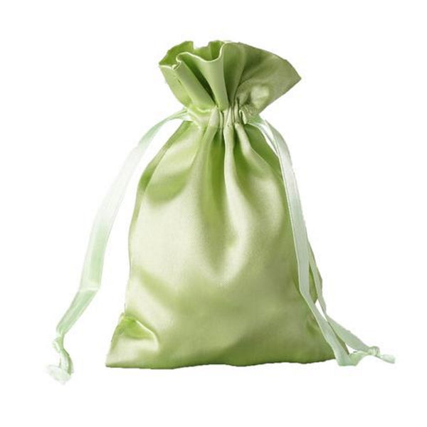 Satin Drawstring Apple Green Bags | 3x4 | 4x6 | 5x7 | 6x9