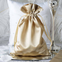 Satin Drawstring Bag, Champagne