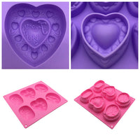 Silicone Mold, 6 Cavity Heart Oval